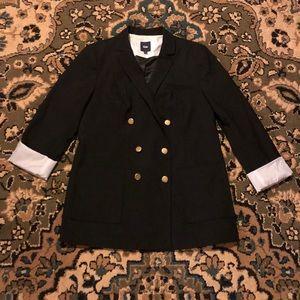GAP Black Wool Blend Blazer w/ Striped Lining 8
